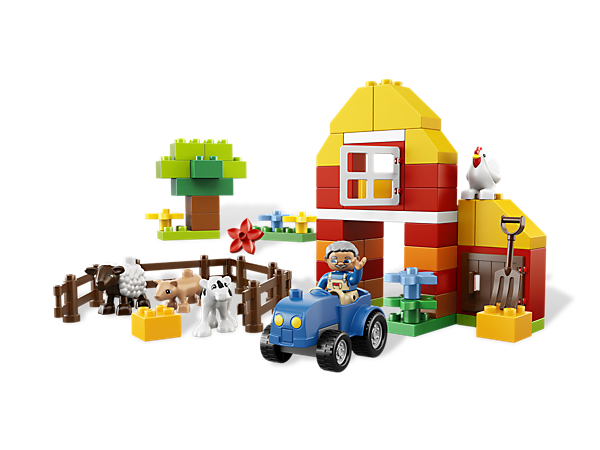 Start building down on the farm with colorful LEGO® DUPLO® bricks, 4 animals and a farmer with easy-to-build tractor and pitchfork!