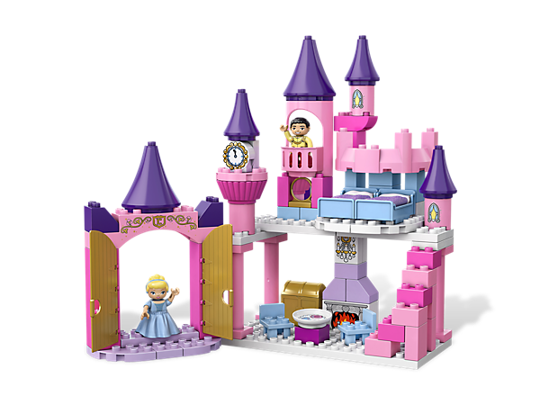 Build Cinderella and Prince Charming a castle with tall towers, a staircase, and tons of furniture where they can live happily ever after!