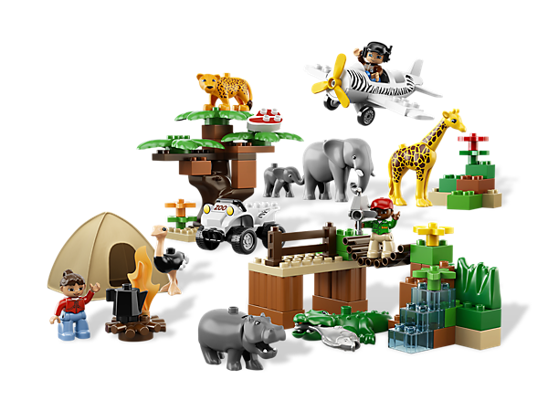 Take the LEGO® DUPLO® building fun out on a wild safari as you create and learn with 8 animals, 2 vehicles, 3 DUPLO figures and accessories!
