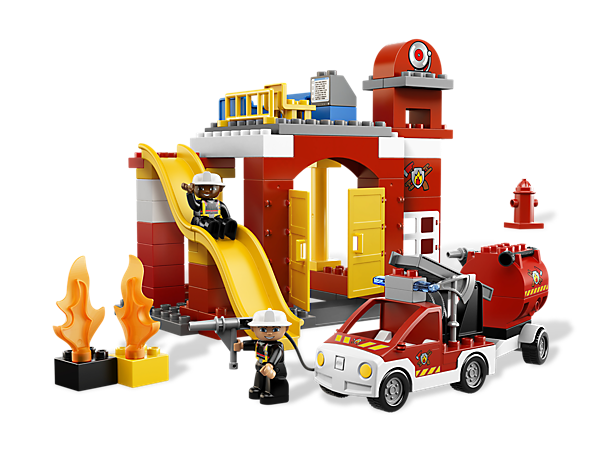 The LEGO® DUPLO® firefighters are on job at the detail-packed Fire Station and out on the road in the vehicle with flashing lights!