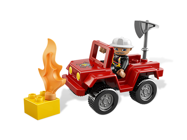 Speed to the scene of the fire and help put it out with the LEGO® DUPLO® Fire Chief, his iconic vehicle and accessories!