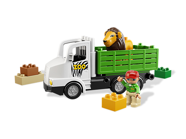Help the zookeeper to pick up the lion at the zoo with the LEGO® DUPLO® Zoo Truck in an easy-to-build set with colorful DUPLO bricks.