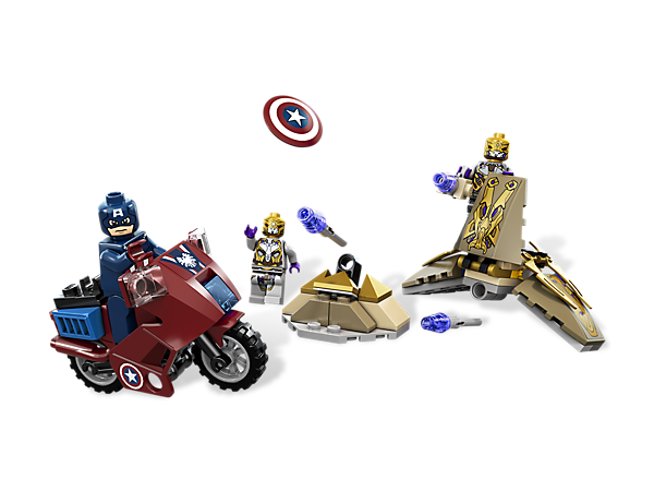 Speed into battle with Captain America's Avenging Cycle to defeat the general and the foot soldier in the craft with folding wings and a flick missile!