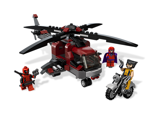 It's a chopper versus helicopter showdown as Magneto and Deadpool attack Wolverine in their flying fortress with adjustable flick missiles!