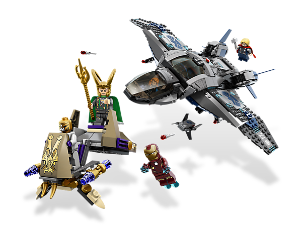 Stop Loki as you go after his chariot with the function-packed Quinjet in an awesome 5-minifigure finale!