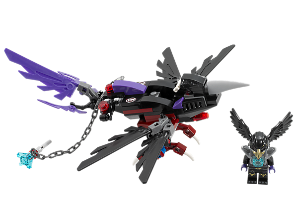 Protect the Raven tribe's CHI with Razcal's Glider and its folding wings, beak, grabbing claws and chain with handle!