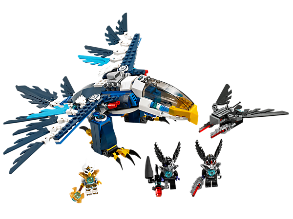 Protect the Eagle tribe CHI with Eris' Eagle Interceptor with beak, talons, tail, poseable wings and legs, flick missiles, prison and eject function!