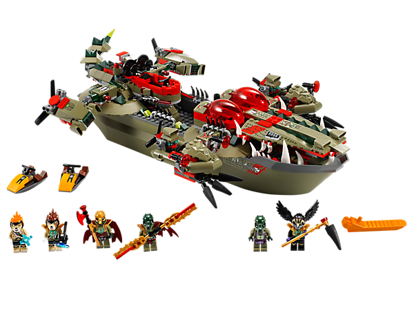 Tame the lions with Cragger's Command Ship with opening mouth, articulated tail, flick missiles and detachable mini boats and helicopter!