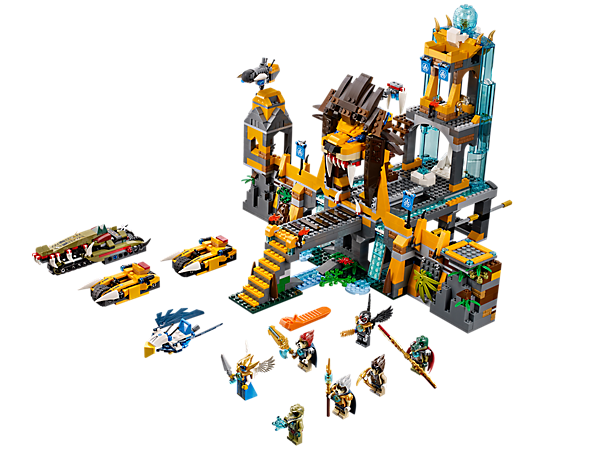 Battle with 4 tribes at The Lion CHI Temple featuring a drawbridge trap, secret defenses, cool vehicles, 7 minifigures and lots of functions!