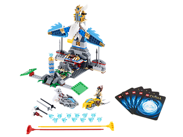 Race the Wolf, Lion and Eagle tribes in a Speedorz battle for the golden CHI with 3 minifigures, 4 weapons and 10 game cards!