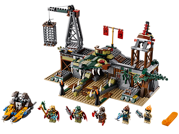 Rescue Leonidas at The Croc Swamp Hideout featuring a falling croc-jaw gate, rapid-fire shooter, hanging prison cell and 5 minifigures!