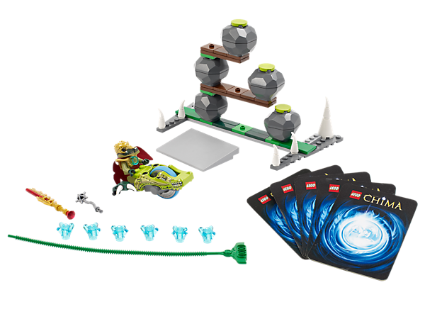 Blast through the boulders and free King Crominus from the cave in a Speedorz race for 6 CHI, featuring a ramp, 5 game cards and 2 weapons!