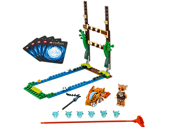 Fire Furty the fox's Speedor high above the swamp and fence in a Speedorz Swamp Jump challenge for 6 CHI, with 2 weapons and 5 game cards!