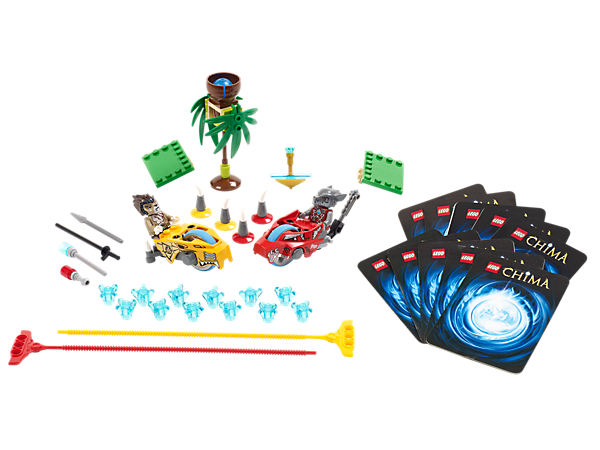 Represent your tribe in the CHI Battles with Longtooth and Wakz in 3 Speedorz obstacles with 12 CHI, 4 weapons and 10 game cards!