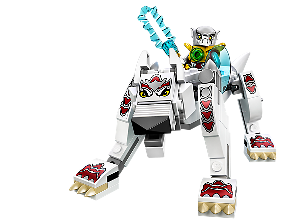 Sprint to freedom with the LEGO® Legends of Chima™ Wolf Legend Beast with poseable joints, Worris, CHI-powered Derimous sword and a shield.