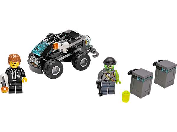 Intercept Adam Acid in LEGO® Ultra Agents Riverside Raid with Agent Max Burns' 2-in-1 quad bike and jet speeder vehicle with stud shooters.