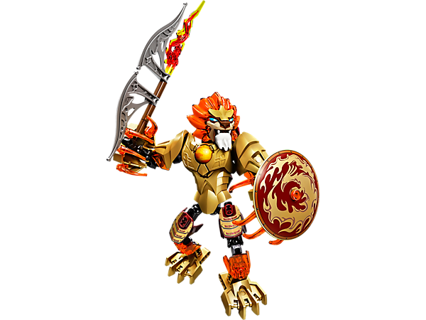 Battle rivals with LEGO® Legends of Chima™ CHI Laval with buildable fire sword and Phoenix shield, playable CHI function and more.