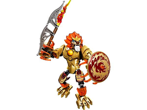 Aide CHI Laval à lutter contre ses ennemis LEGO® Legends of Chima™ avec une épée de feu et un bouclier Phénix. Nouveau ! Fonction Lance-CHI.