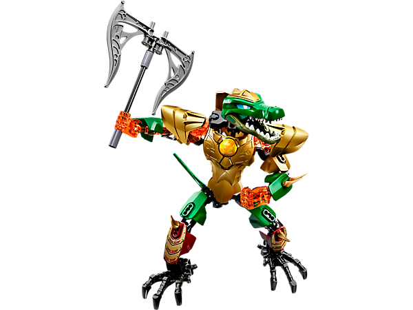 Attack with the posable LEGO® Legends of Chima™ CHI Cragger with movable jaws, buildable weapons, playable CHI function and more.
