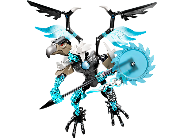 Attack from the sky with posable LEGO® Legends of Chima™ CHI Vardy with buildable rotating saw blade, playable CHI function and more.
