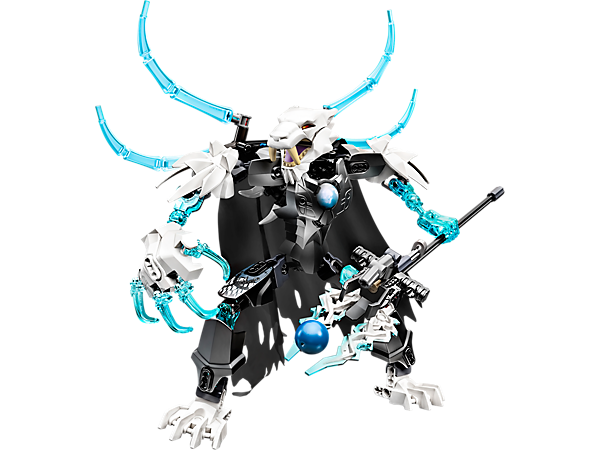 Attack with LEGO® Legends of Chima™ CHI Sir Fangar with movable jaws, shooting ice weapon, flipping spikes, playable CHI function and more.