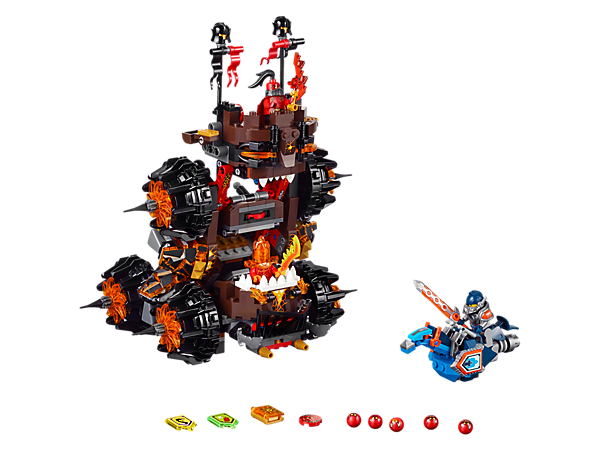 Stage a siege with General Magmar's 2-in-1 Siege Machine of Doom, featuring 2 Globlin shooting catapults, disc shooter and a Hover Horse. Includes 3 minifigures.