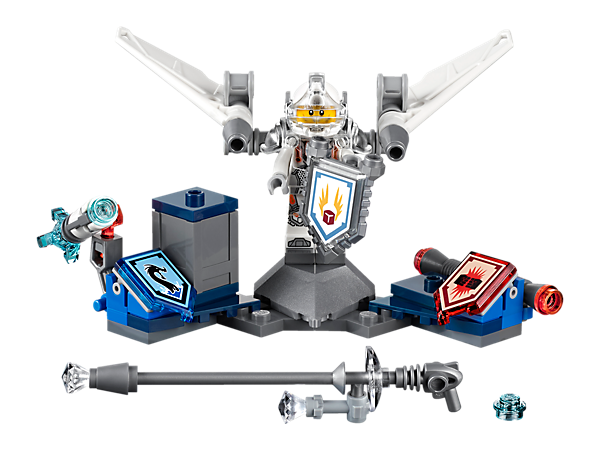 <p>Boom! Break the sound barrier with Ultimate Lance for some laser-fast jousting, featuring jet wings, water cannon, 3 scannable shields for NEXO Powers and a minifigure.</p>