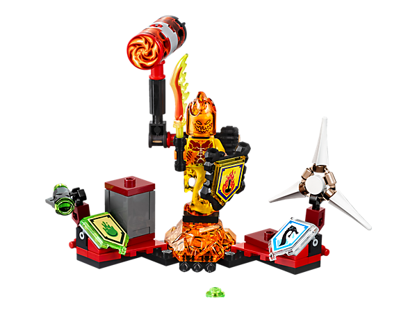 Ultimate Flama is hot on the knights' heels with a movable hammer and slime stud shooter, plus 3 scannable shields and a minifigure.