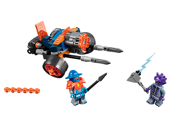 <p>Defeat the Stone stomper with the 2-in-1 King's Guard Artillery battle vehicle, featuring a six-stud shooter and detachable swords, plus two LEGO® NEXO KNIGHTS™ minifigures.</p>