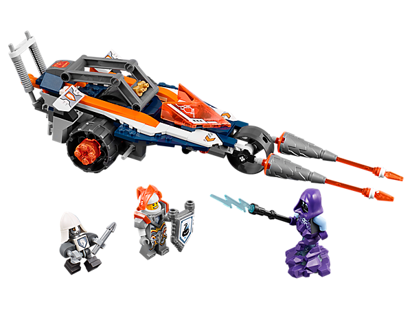 Catch the gargoyle with Lance's 4-in-1 Twin Jouster, featuring flip-out wings with flick missiles and a detachable Wing Jet Pack. Includes three minifigures and one scannable shield.