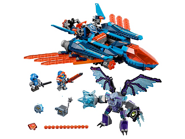 Launch Clay's 2-in-1 Falcon Fighter Blaster with six-stud shooters against the buildable Grimroc monster with supersized mace. Includes three scannable shields and two minifigures.