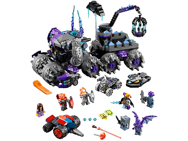 Rescue Ava from Jestro's Headquarters, featuring the Hatattacka flying hat vehicle and trailer, crane and a cage, plus two vehicles and a boat. Includes five scannable shields and six minifigures.