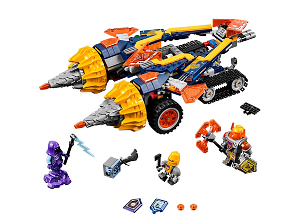 Repel the Rogul with Axl's 3-in-1 Rumble Maker, featuring spinning drills, a flier and a detachable tank with caterpillar tracks. Includes 3 minifigures and 3 scannable shields.