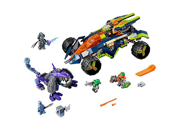 Race Aaron's 3-in-1 Rock Climber buggy after Lord Krakenskull on the buildable Krakenbeast monster and defeat him in the name of Knighton! Includes 3 scannable shields and 3 minifigures.