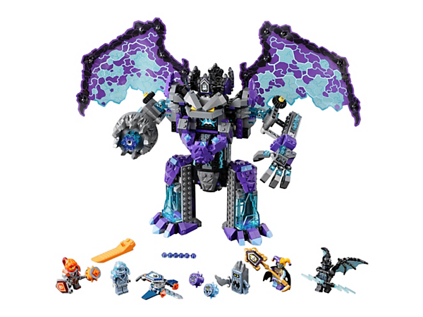 Battle the Stone Colossus of Ultimate Destruction, with a rapid-fire 6-stud shooter, giant movable wings, built-in prison cells and 'punching' arms. Includes 4 scannable shields and 4 minifigures.