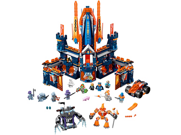 <p>Defend the 2-in-1 Knighton Castle, featuring a throne, living quarters, buildable Mechlok, escape rocket ship and rolling stone prison. Includes 6 scannable shields and 8 minifigures.</p>