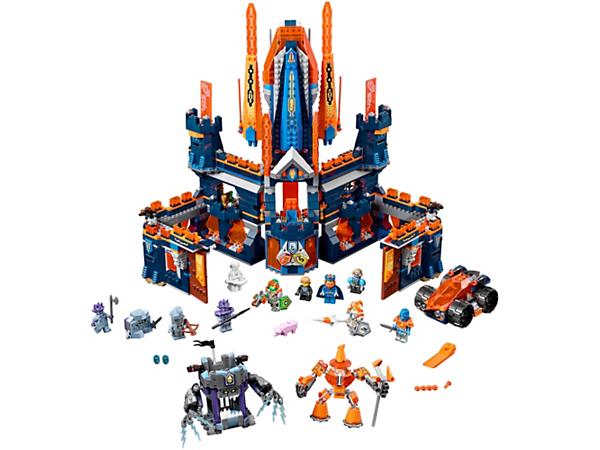 <p>Beschütze das doppelt gefährliche Schloss Knighton. Im Schloss gibt es einen Thron und Wohnquartiere. Zum Set gehören auch noch ein Merlok-Robo zum Zusammenbauen, eine Fluchtrakete sowie ein rollendes Steingefängnis. Enthält sechs Schilde zum Scannen und acht Minifiguren.</p>