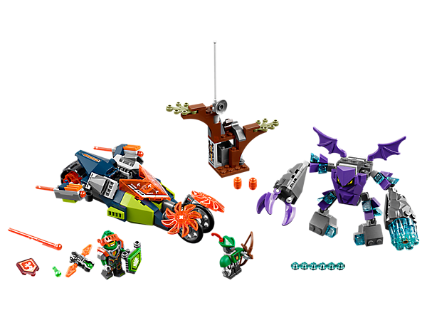 <p>Defend Robot Hoodlum in the forest hideout, featuring Aaron's Stone Destroyer motorcycle with spinning stone slicers and a buildable Bedrock Monster figure. Includes two minifigures.</p>