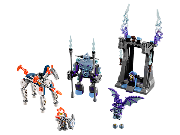 Help Lance defeat the gargoyles, featuring a buildable robot horse and gothic village scene with a catapult. Includes two minifigures and a buildable gargoyle figure.