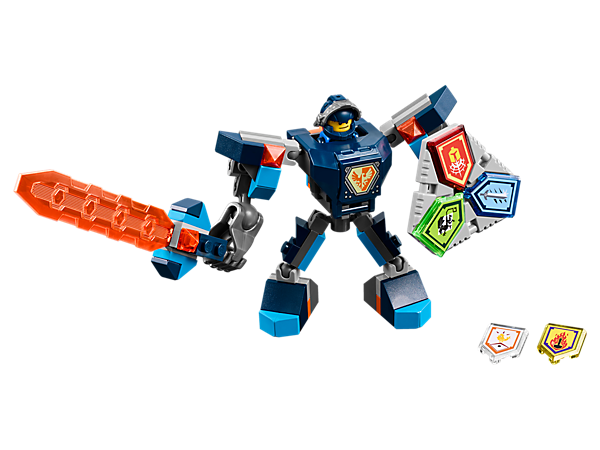 <p>Help Clay destroy the Stone monsters with this buildable battle suit, super-sized sword, giant fist, Combo NEXO Power shield, five scannable shields and a Clay minifigure.</p>
