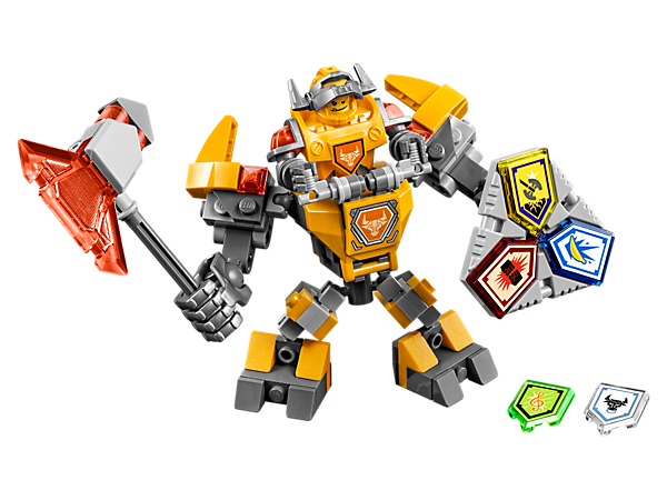 Boost Axl's powers with this buildable battle suit, super-sized axe, giant fist, Combo NEXO Power shield, five scannable shields and an Axl minifigure.