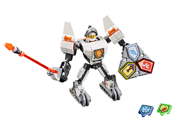<p>Zoom into battle with Battle Suit Lance, featuring a buildable battle suit with wheels, super-sized lance, Combo NEXO Power shield, five scannable shields and a Lance minifigure.</p>