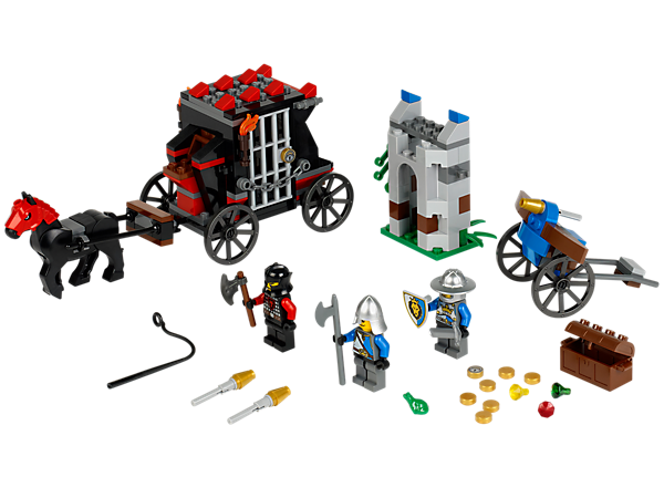 Stop the Gold Getaway with a horse-drawn prison carriage, cell door bust-out function, treasure, flick-missile crossbow and 3 minifigures!
