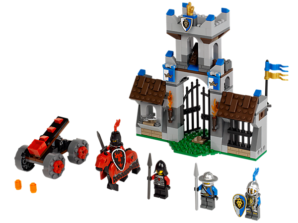 Repel the Dragon Knight's Gatehouse Raid with an armored horse, catapults, tower, opening gate, weapons and 4 minifigures!