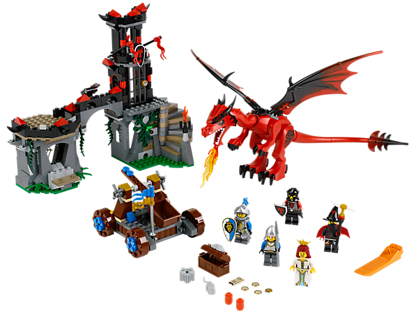 Battle at Dragon Mountain with the fire-breathing dragon, wizard, dungeon, large catapult, King's Knights, gold and a princess!