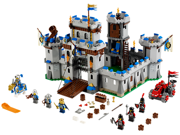 Build and defend the King's Castle with 7 minifigures, battering ram, tons of functions and the brave White Knight with fully armored horse!