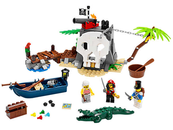 Discover the secrets of LEGO® Pirates Treasure Island with opening skull gate, cannon, rowboat, treasure chest, crocodile and 3 minifigures.