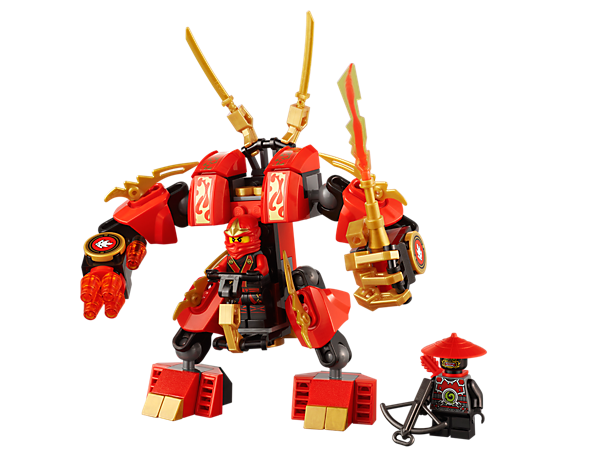 Battle Lord Garmadon's scout for the fire blade with Kai's Fire Mech, a fully poseable fighting machine equipped with elemental fire armor!