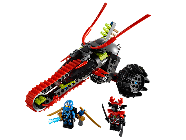 Escape with Jay's rocketpack to protect the elemental lightning blade from the scout on his Warrior Bike with quick-fire missile launcher!