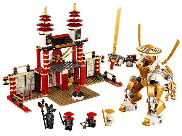 Unite the 4 elemental blades at The Temple of Light to awaken the golden mech and battle with his golden sword in the final Ninjago battle!